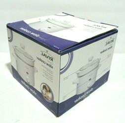 Rival 2 Quart Slow Cooker Crock Pot, White with Tempered Gla