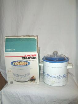 Rival Crock-Pot 3 1/2 Quart Slow Cooker Model 3100 Delft Blu