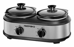 Chefman RJ15-125-D Double Slow Cooker & Buffet Server wi