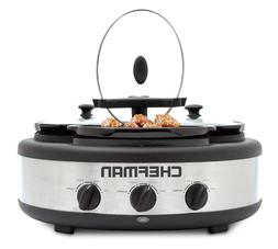 Chefman RJ15-15-TO Oval Crock Round Triple Slow Cooker with