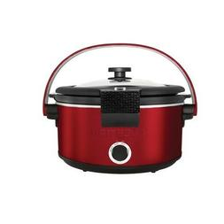 Chefman RJ15-5-LCH-RED Slow Cooker with Carry Handle, 5 quar