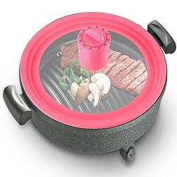 """Basily Silicone Pot Lid with Cover-Mount Timer, 10"""", Pink"""