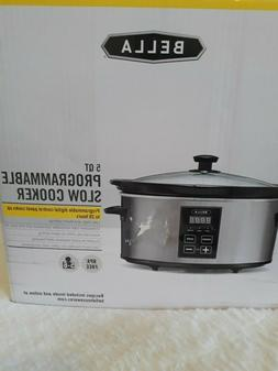 Silver Black Kitchen 5 Qt Slow Cooker Programmable Removable