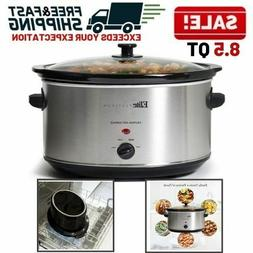 Slow Cooker 8 Quart Manual Stainless Steel Ceramic Large Ova