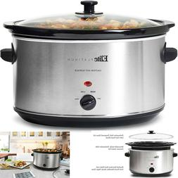 Slow Cooker Large Oval 8.5 Quart Stainless Steel Manual Remo