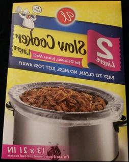 Slow Cooker Liners 2pk 13 x 21 in fits 3 to 8 quart fits rou