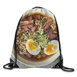 OLGCZM Slow Cooker Pork Ramen Drawstring Backpack Bag Should