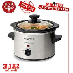 Small Slow Cooker Stainless Steel Crock Pot Mini Kitchen App