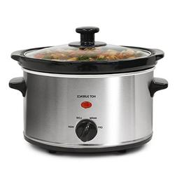 Stainless Steel 2-quart Oval Slow Cooker with 3 Heat Setting