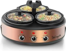 The Triple 1.5 Quart Slow Cooker & Buffet Server