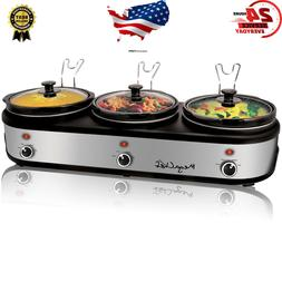 MegaChef Triple 2.5 Quart with 3 Ceramic Cooking Pots and Re