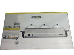 Bella Triple Buffet Server and Warming Tray 3 1.5 qt Chafing