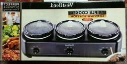 West Bend Triple Cooker Serving Station Slow Cooker Warming