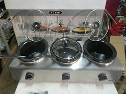 bella triple slow cooker buffet & serve  with spoons and lid