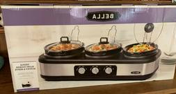 Bella Triple Slow Cooker Buffet and Server, 3 2.5 Qt Oval Co