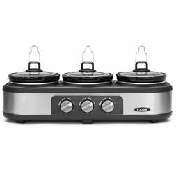 BELLA Triple Slow Cooker Buffet Server 3 x1.5 QT Manual Stai