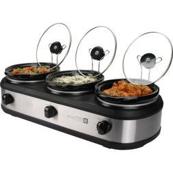 Triple Slow Cooker Buffet Server 4.5 Quart Food Warmer Crock