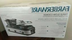 Triple Slow Cooker Pots Food Kitchen Crock Pot Appliance Loc