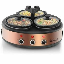 Triple Slow Cooker Three 2 Qt Pots Round Party Food Buffet S