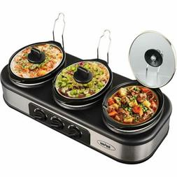 Triple Slow Cooker with Non-Skid Feet,3×1.5 QT Slow Cooker