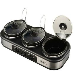 Triple Slow Cooker with Non-Skid Feet, 3×1.5 QT Buffet Serv