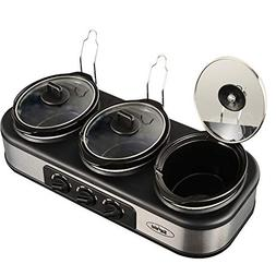 Triple Slow Cooker with Non-Skid Feet, Stainless Steel, 3 ×