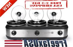 Tru BS-325LR Slow-Cookers, Three Oval Removable Stoneware In