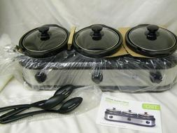 TRU Buffet Slow Cooker 3-Crock Pot Buffet Set, Stainless Sil
