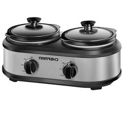Twin Slow Cooker Two 1.25qt Pots ChefMan Separate Controls B