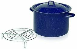 IMUSA USA C20666-1065948 Enamel Steamer Pot, 16-Quart, Blue
