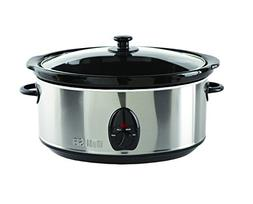 IMUSA USA IMU-01975 Stainless Steel Slow Cooker with Glass L