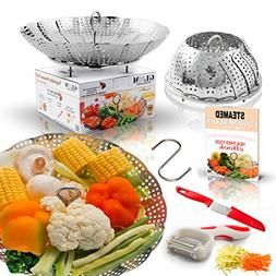 Large Folding Vegetable Steamer Basket insert 100% Stainless