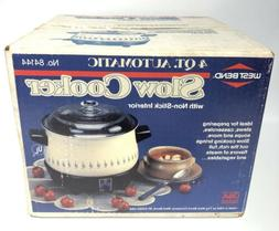 Vintage West Bend 4 Qt Round Slow Cooker 84144 Country Flora