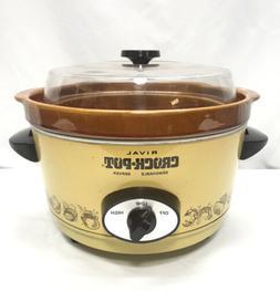 Vintage Rival 5 Qt Crock-Pot Slow Cooker Removable Stoneware