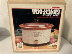 Vintage Rival 5 Quart Removable Crock Pot Slow Cooker Almond
