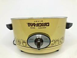 Vintage Rival 5qt Slow Cooker Removable Stoneware Model 3350
