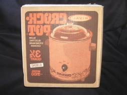 Vintage Rival Crock Pot/Slow Cooker, 3-1/2 Qt. Retro 1970'