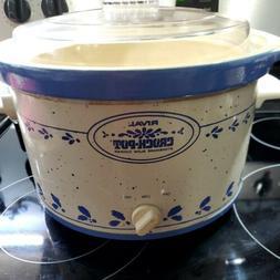 Vintage Rival 5 Quart Crock Pot Slow Cooker Model 3355 Blue