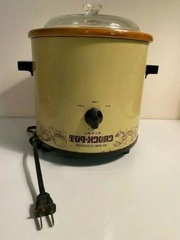 Vintage Rival Crock Pot Slow Cooker 3100 Avocado Green Clear