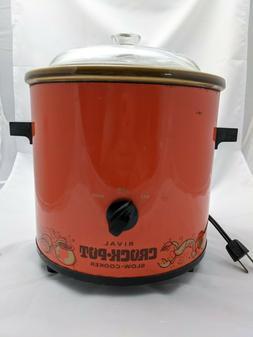Vintage Rival Crock Pot Slow Cooker Flame Orange Model 3100/