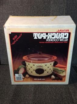 Vintage Rival Crock Pot Slow Cooker Model 3350 Almond/Brown