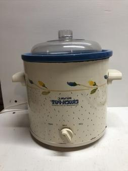 Vintage Rival Crock Pot Slow Cooker And Lid  3.5 Quart Stone