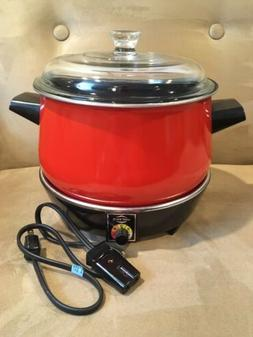 Vintage West Bend Slow Cooker~4 Quart~Red~USA~Very Good Cond