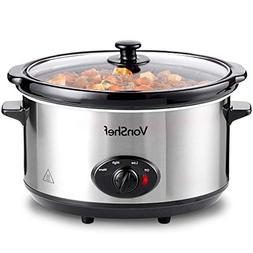 VonShef 220 240 Volts Slow Cooker Crockpot 6.5 Liter Large S