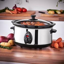 VonShef 220 240 Volts Slow Cooker Crockpot 3.5 Liter Small S