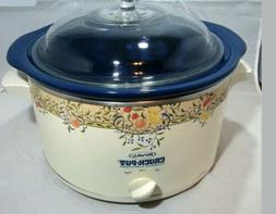 Vtg Rival Fruit Crock Pot Stoneware Slow Cooker 5 Quart Blue
