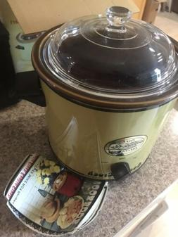Vtg Slow Cooker Gold 3.5 Qt Quart Manual Cooking Crock Pot S