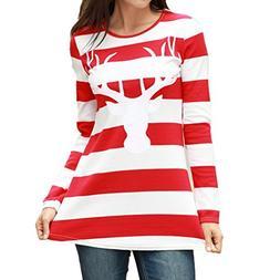 Women Dress,Neartime Stripe Dress Christmas Elk Print Long S